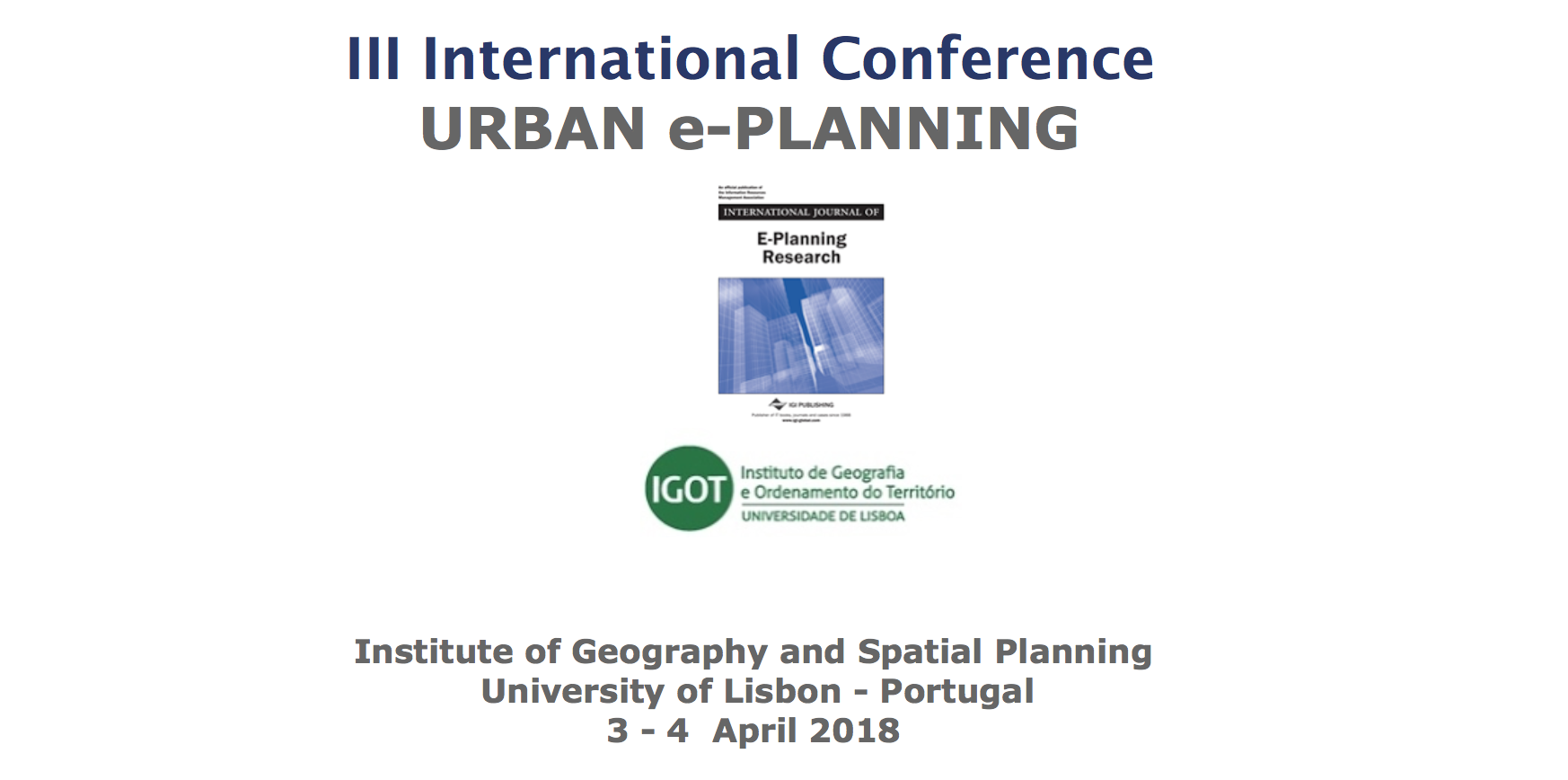 International Journal of E-Planning Research' – Annual Conference